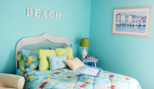 pink and yellow guest room it s another colorful beach inspired room