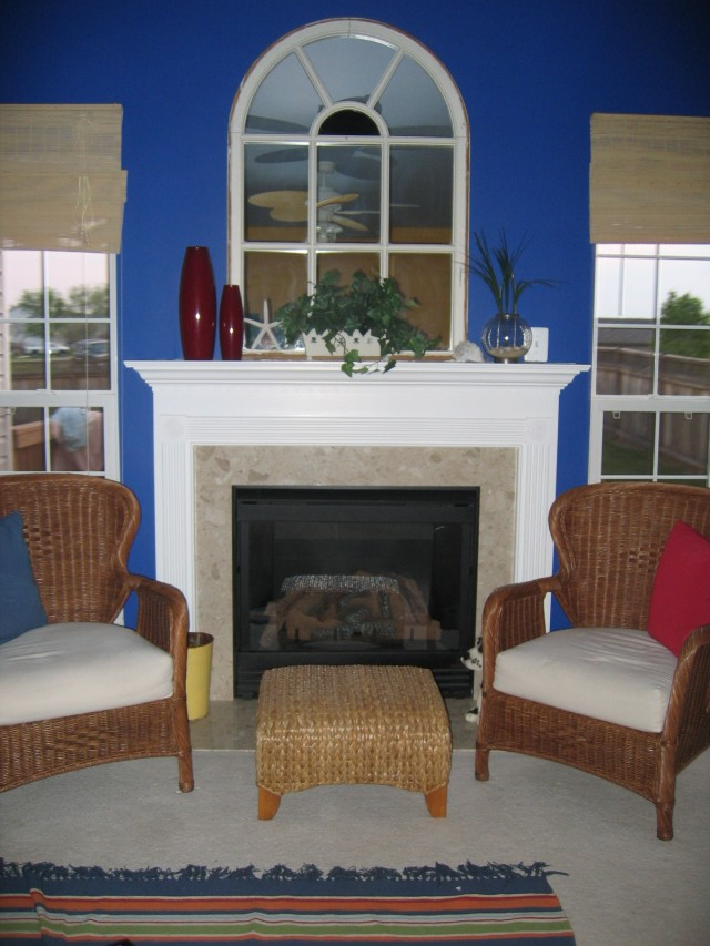 Navy blue fireplace makeover