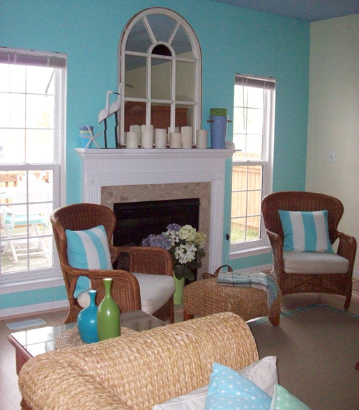 Aqua fireplace makeover