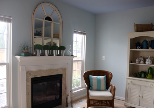 Fireplace makeover in light blue