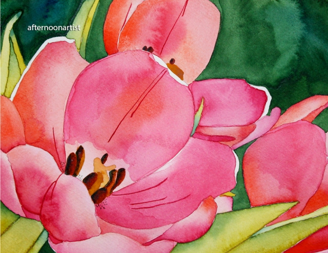 red tulips in watercolor