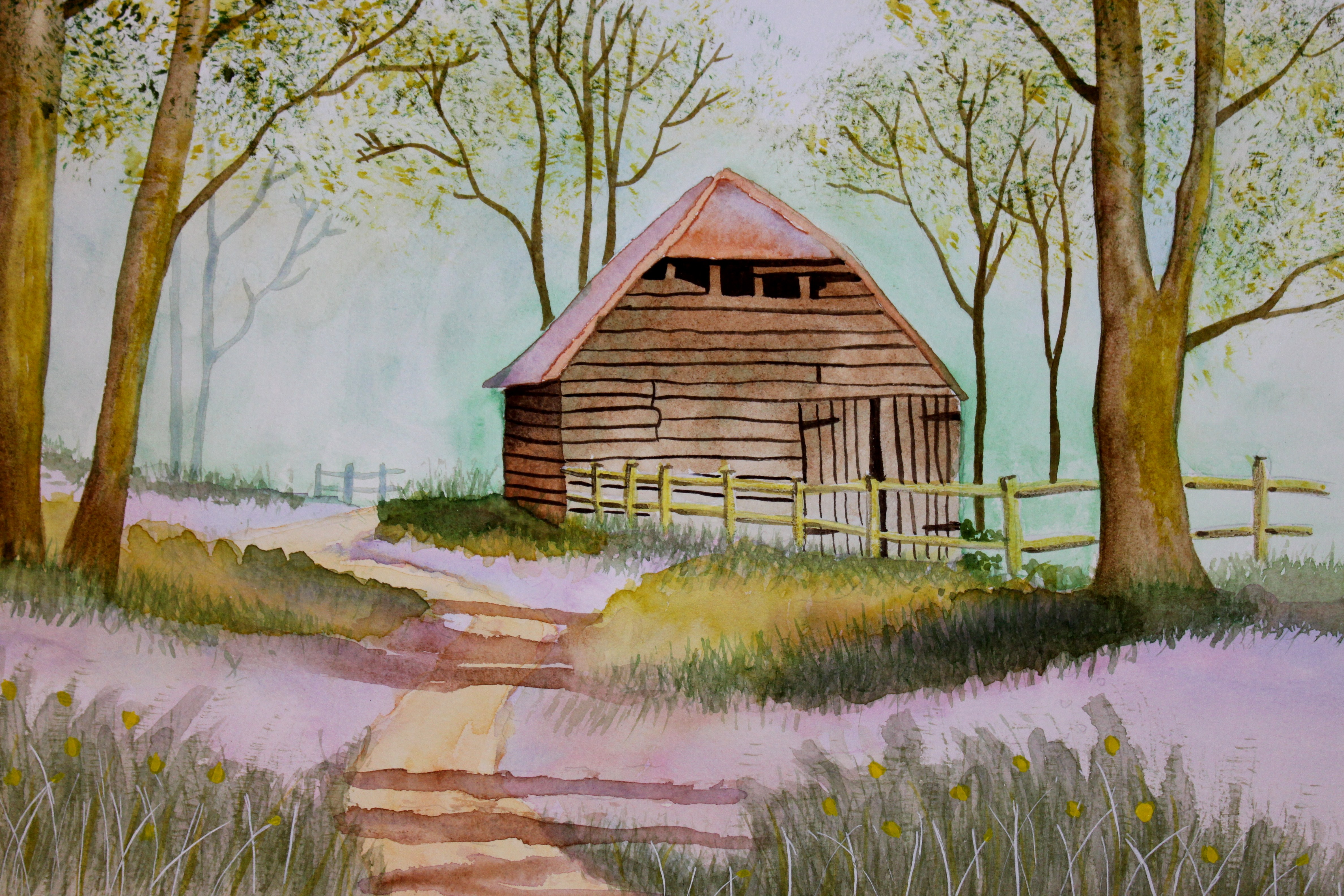 June 2012 afternoon artist for Watercolor barn paintings