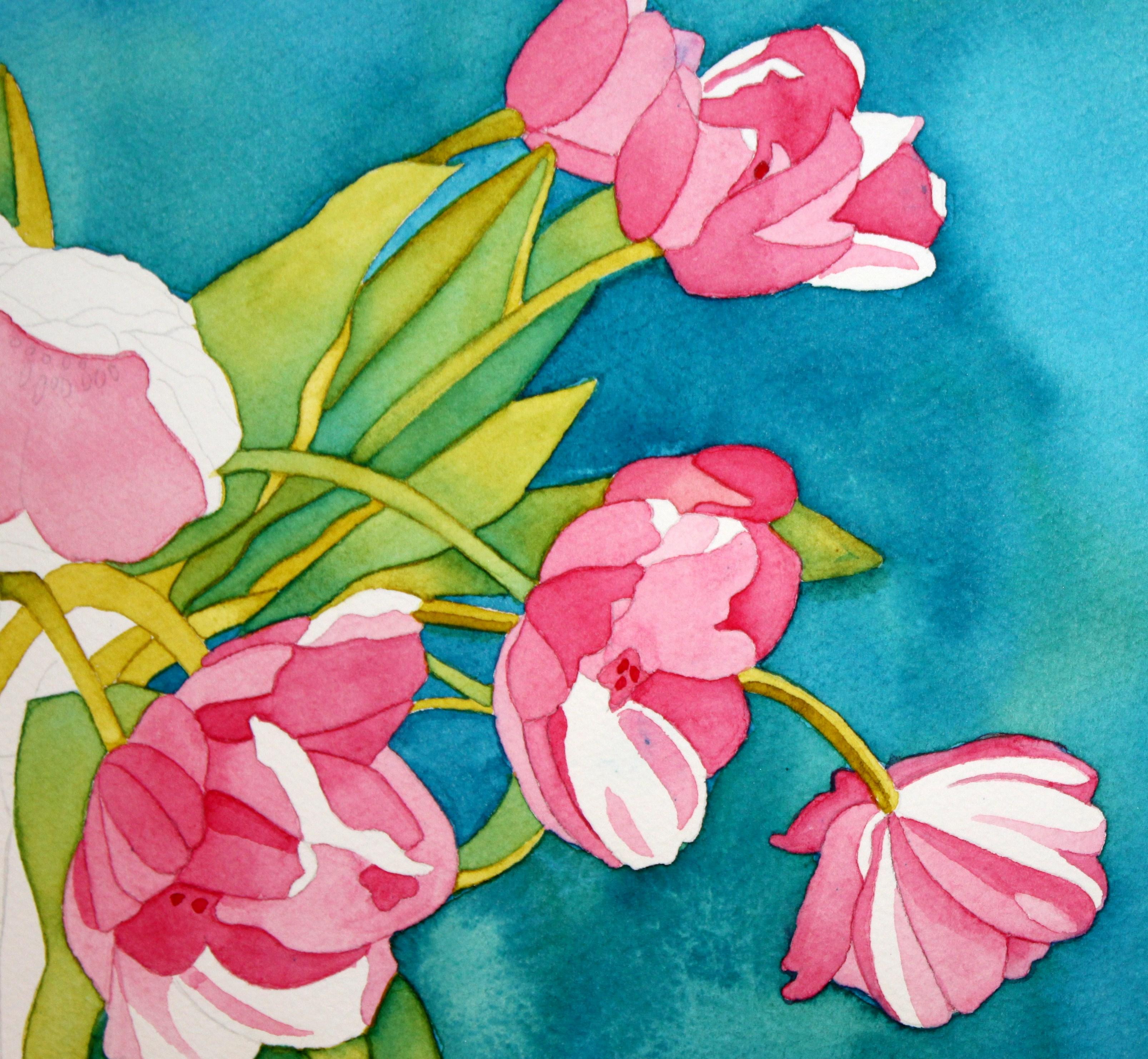 Akvarel Tulip Bouquet Afternoon kunstner-8284