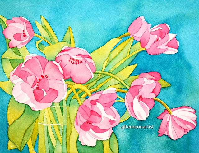 pink tulip bouquet in watercolor