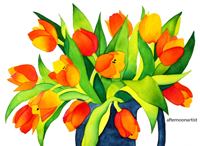 orange tulip bouquet in watercolor