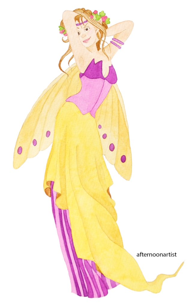 purple fairy in watercolor
