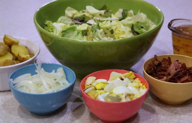 Bacon Egg and Potato Salad Ingredients