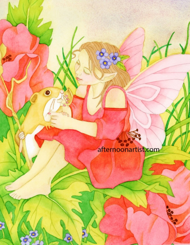 Rose fairy in watercolor