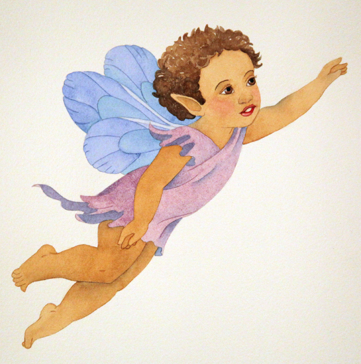 Purple Baby Fairy in Watercolor2 Small
