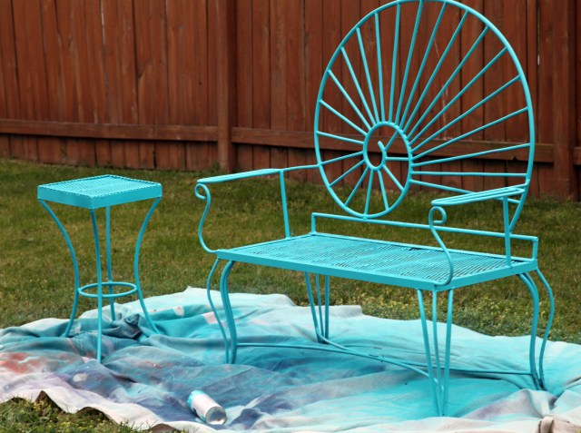 Aqua bench and table painted in Seaside by Rust-oleum