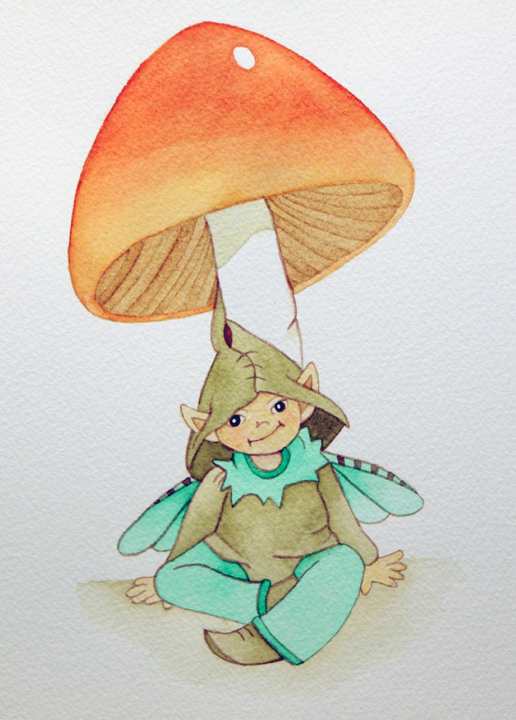 Watercolor painting of a baby fairy resting on a mushroom