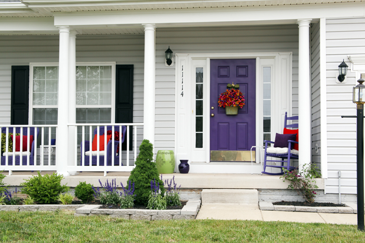 Freshly painted colorful porch makeover