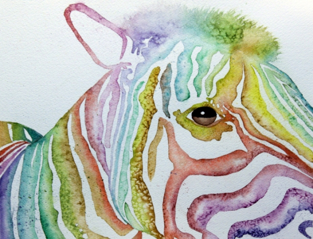 Picture of  a rainbow zebra in watercolor