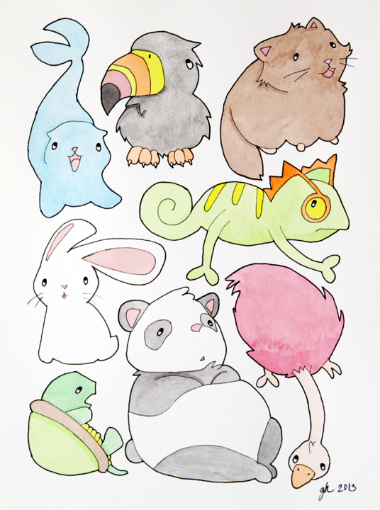 animal menagerie in watercolor