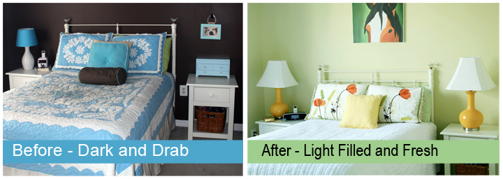 Quick and easy spring bedroom makeover - before and after photos