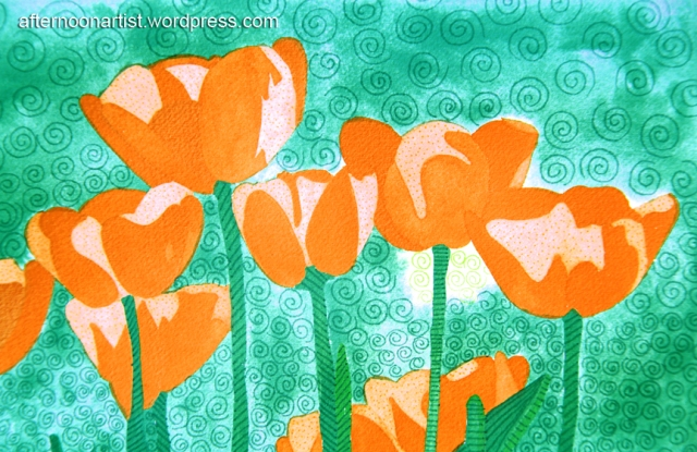 Orange tulips in watercolor