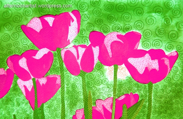 Pink watercolor tulips