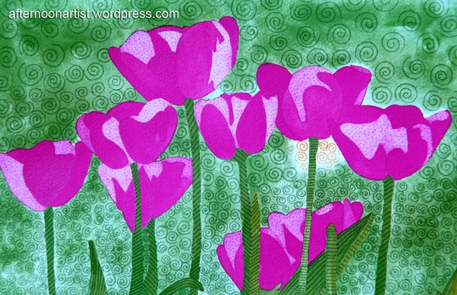 Purple tulips in watercolor