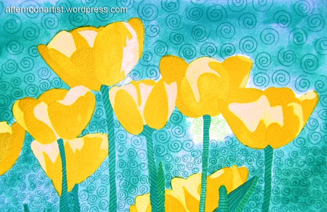 Yellow watercolor tulips