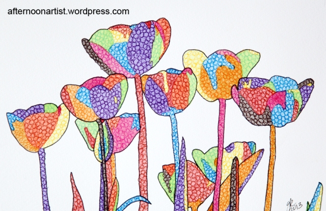 Rainbow tulips in watercolor and micron pen