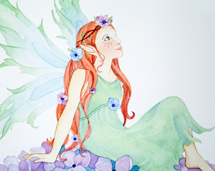 Hydrangea Fairy in Watercolor Closeup