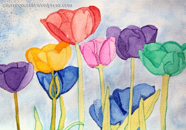 Watercolor tulips in rainbow colors