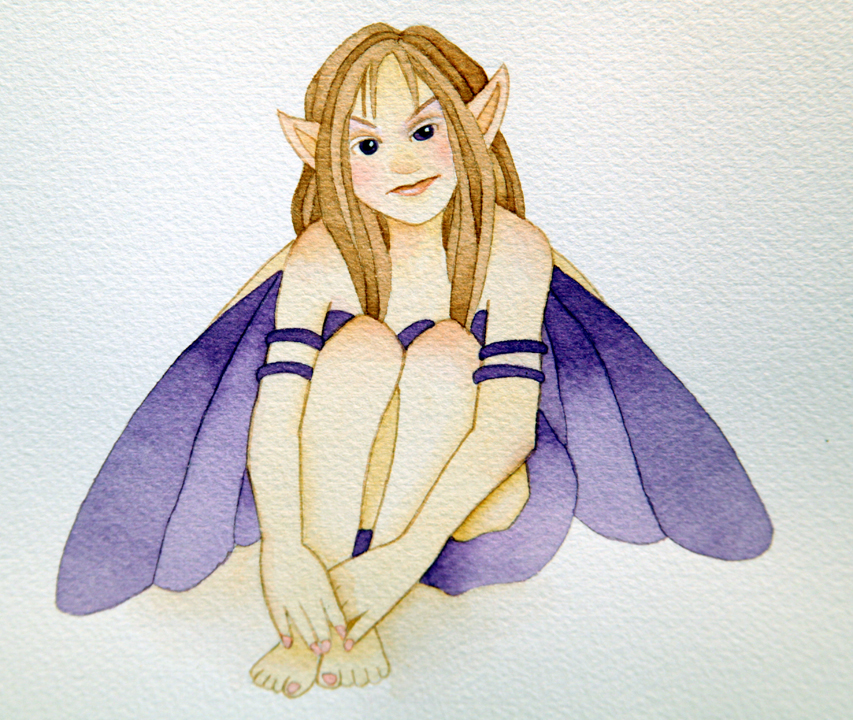purple fairy in watercolor