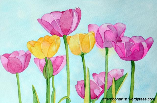 Tulip field in watercolor