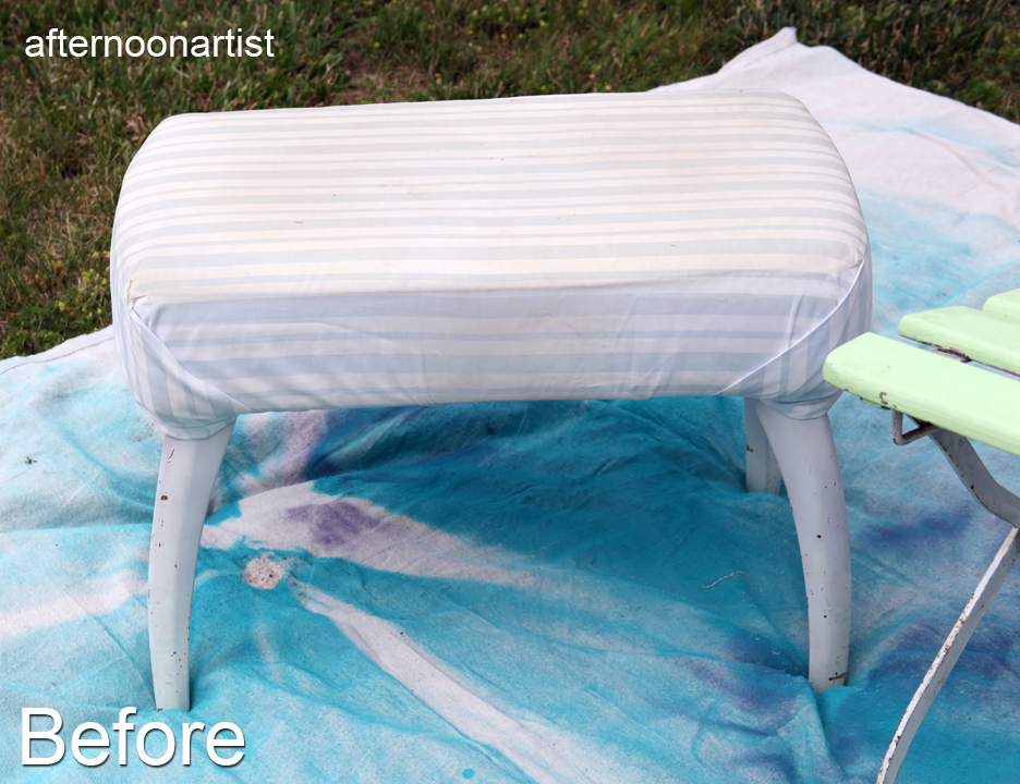 Footstool makeover before