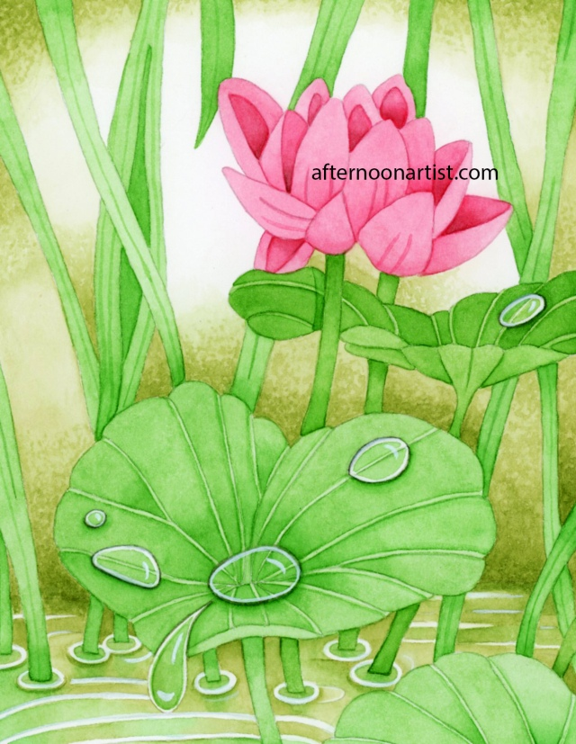 Water lilies in watercolor