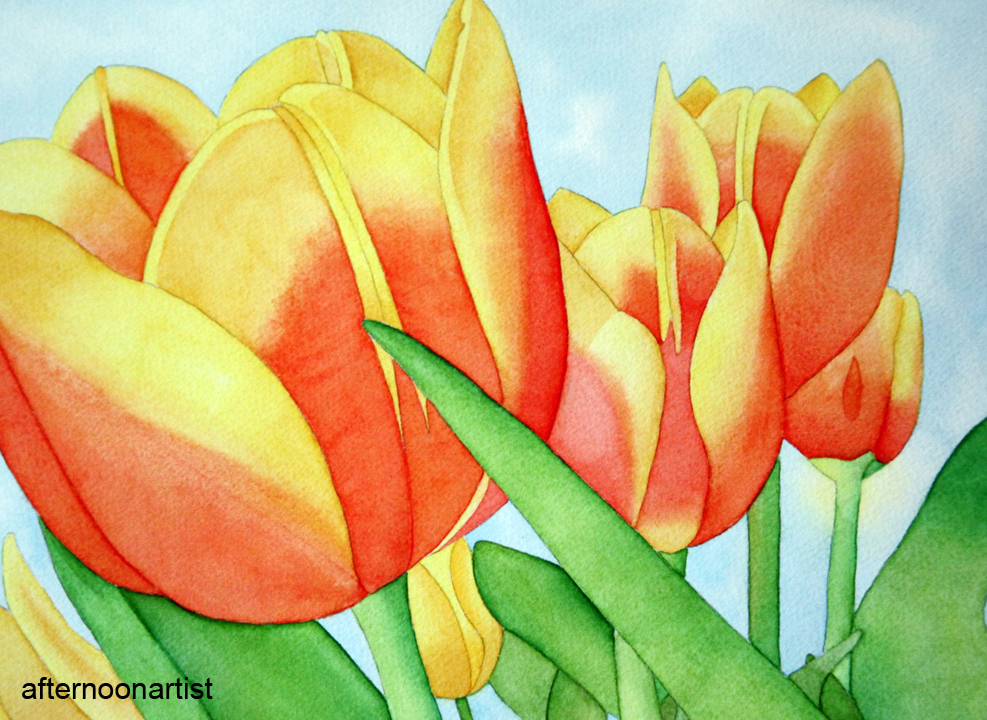 Yellow And Orange Tulips This Tulip Painting Looks Deceptively Simple