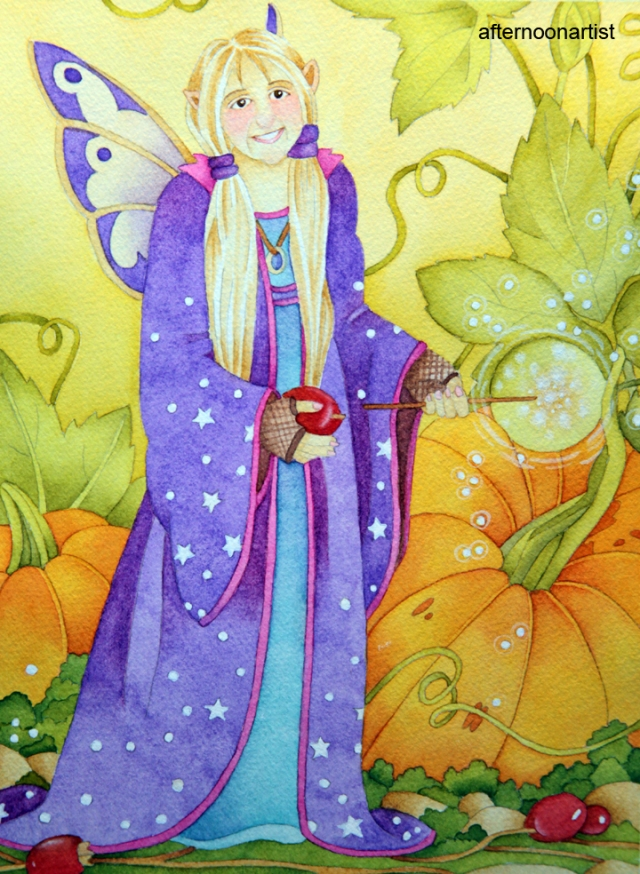 fall fairy painting in watercolor
