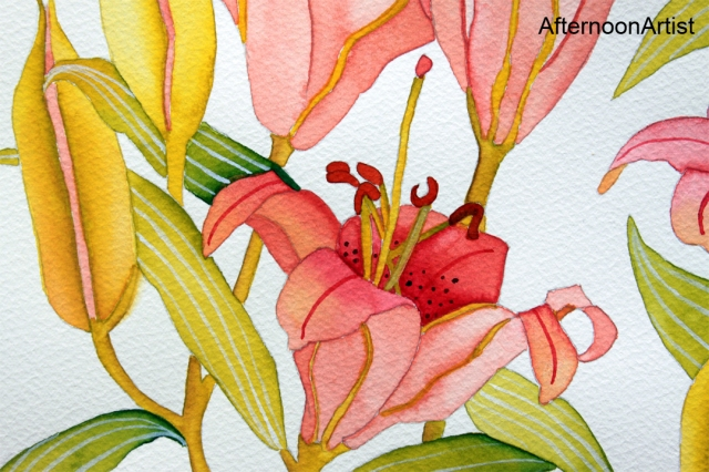 Pink lilies in watercolor - closeup view