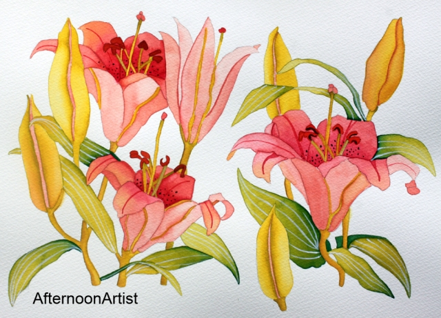Pink Lilies in Watercolor