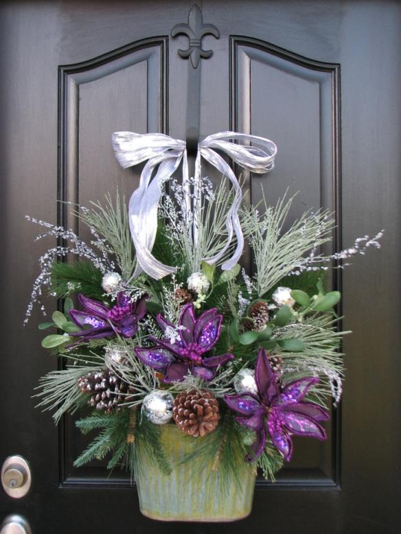 Purple Christmas wreath for my front door