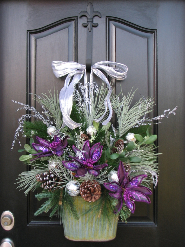 Purple Christmas wreath for my front door