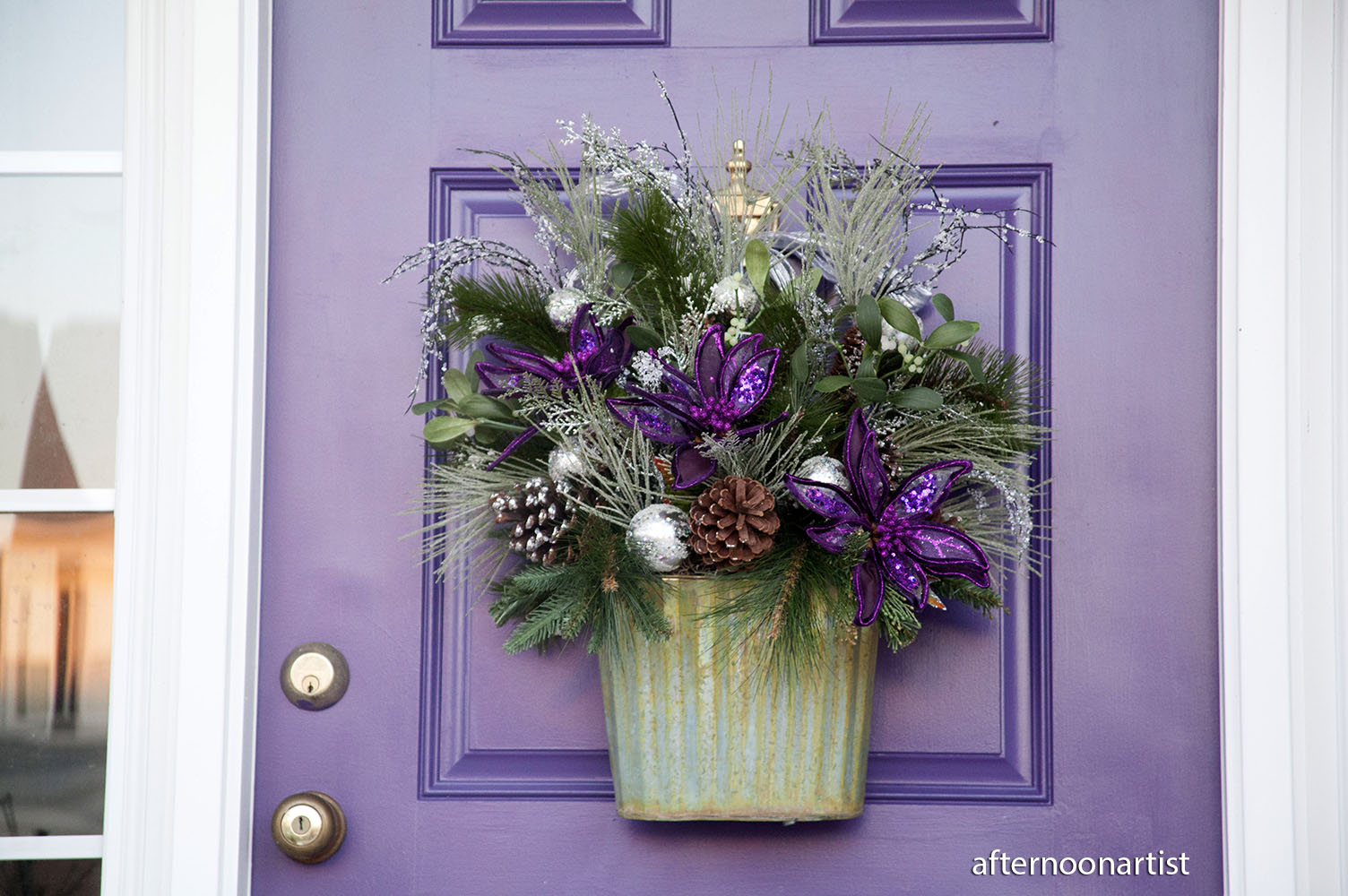 1000 #8D643E  Purple And Silver Holiday Wreath That She Custom Made For My Purple wallpaper Purple Front Doors 47051504