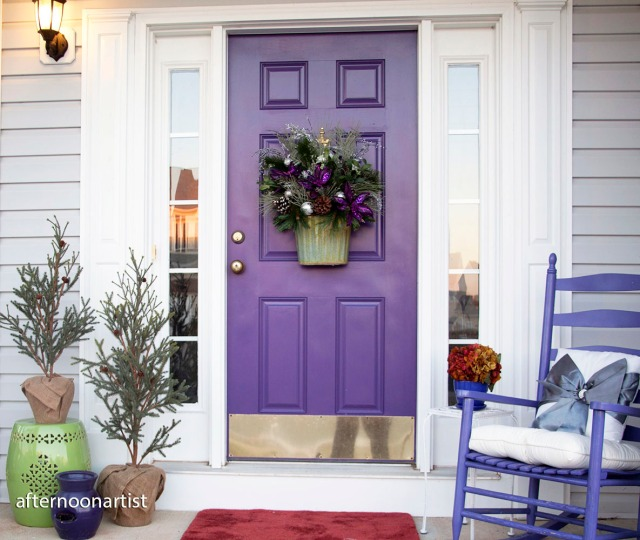 Purple and silver holiday porch