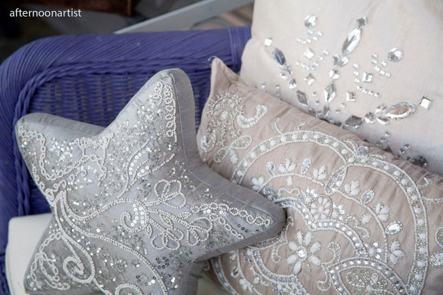 sparkly silver pillows for my front porch