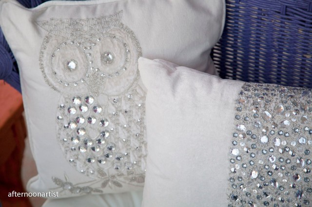 holiday pillows with sequins, beads, and crystals for my front porch