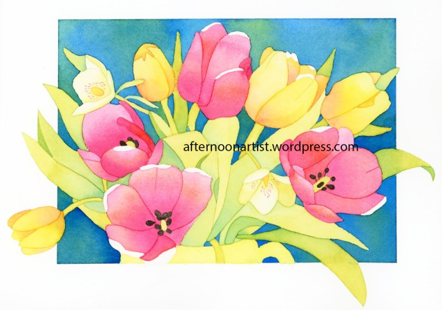 pink and yellow tulip bouquet