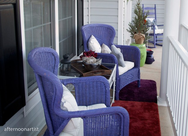 purple and silver holiday porch decor