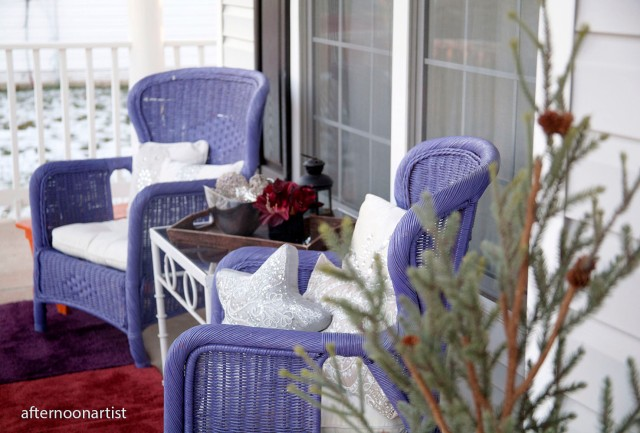 purple and silver winter porch makeover