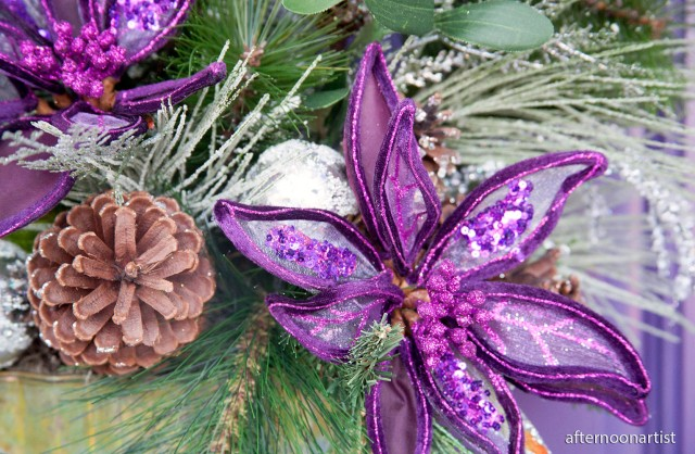purple Christmas wreath close up