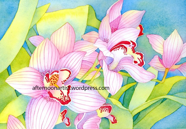 Cymbidium Orchids in watercolor